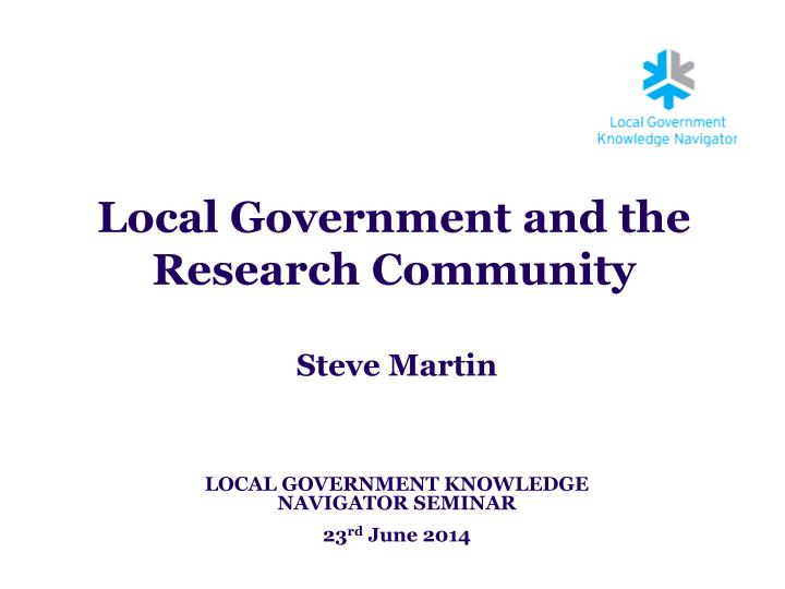 local government and the research community n.