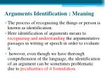 arguments identification meaning