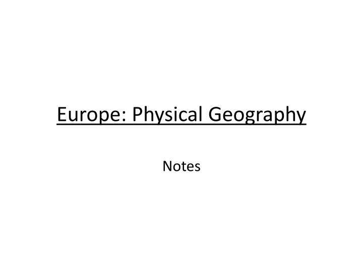 europe physical geography n.
