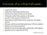 character of an influential leader