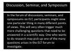 discussion seminar and symposium