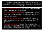 distinguishing research problem from research topic purpose and research question in elt