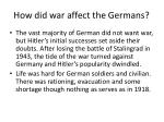 how did war affect the germans