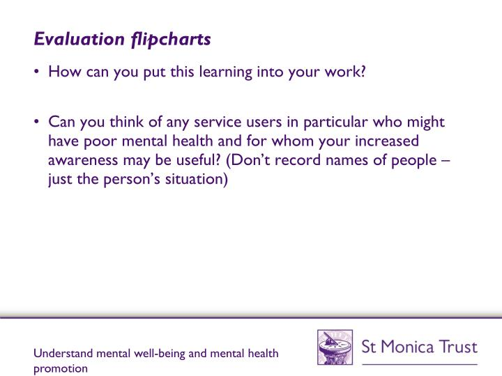 Evaluation flipcharts