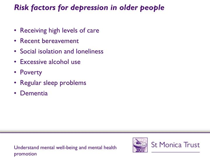 Risk factors for depression in older people