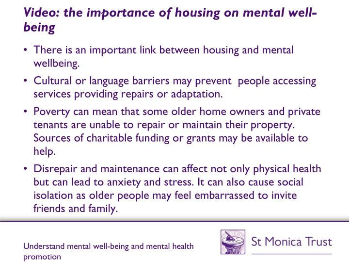 Video: the importance of housing on mental well-being