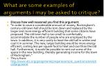 what are some examples of arguments i may be asked to critique1