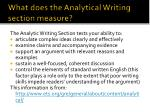 what does the analytical writing section measure