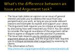 what s the difference between an issue and argument task