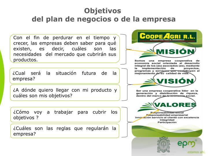 O bjetivos del plan de negocios o de la empresa