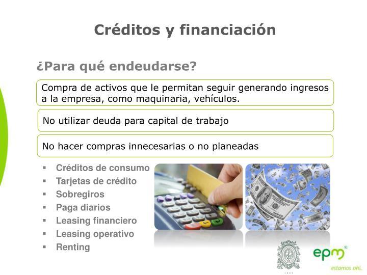 Créditos y financiación