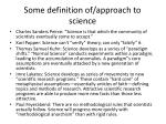 some definition of approach to science