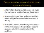 procedures for conventional pure tone audiometry