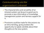 communicating via the organisation s intranet1