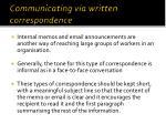 communicating via written correspondence