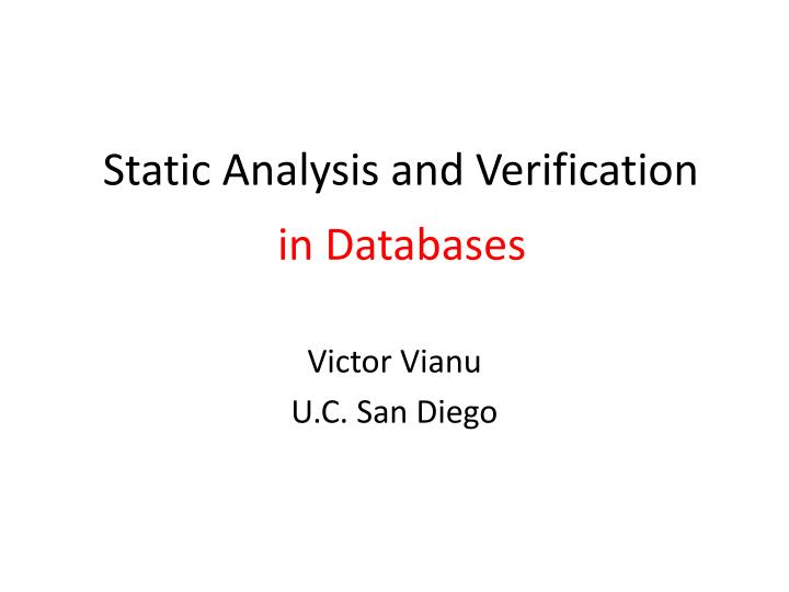 static analysis and verification n.