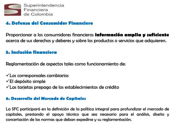 4. Defensa del Consumidor Financiero