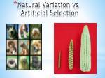 natural variation vs artificial selection