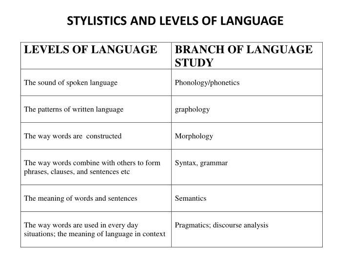 Stylistics and levels of language