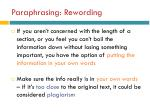 paraphrasing rewording