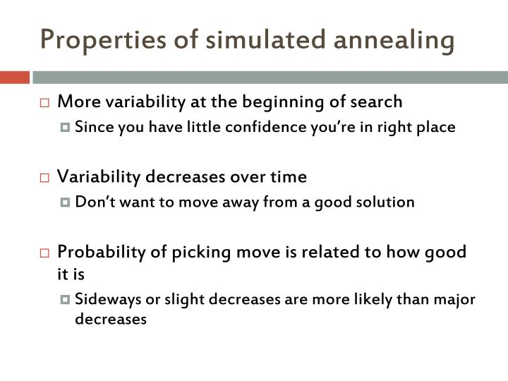 Properties of simulated annealing