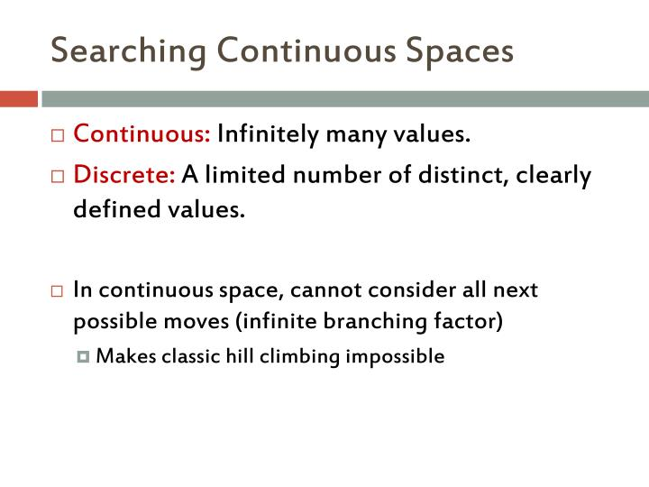 Searching Continuous Spaces