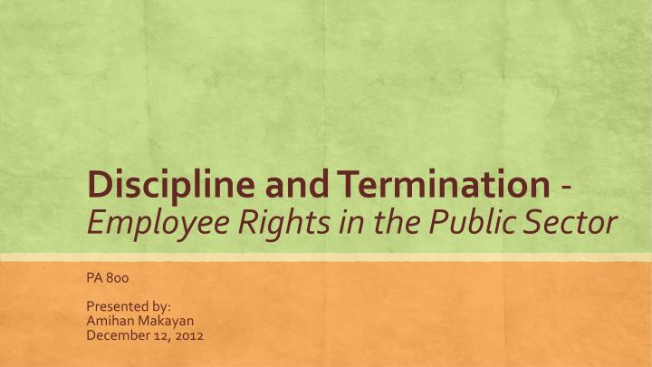 discipline and termination employee rights in the public sector n.