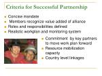 criteria for successful partnership