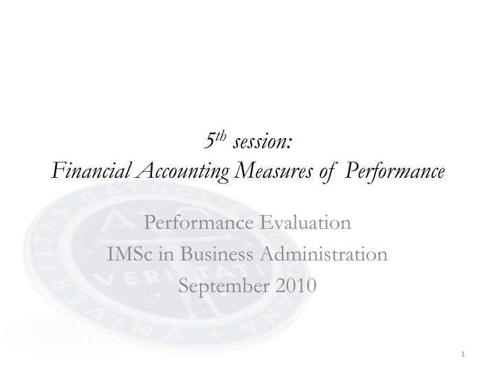 5 th session financial accounting measures of performance n.