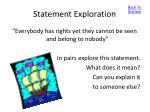 statement exploration