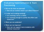 evaluating implementation team functioning