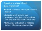 questions about grant agreements