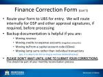 finance correction form con t