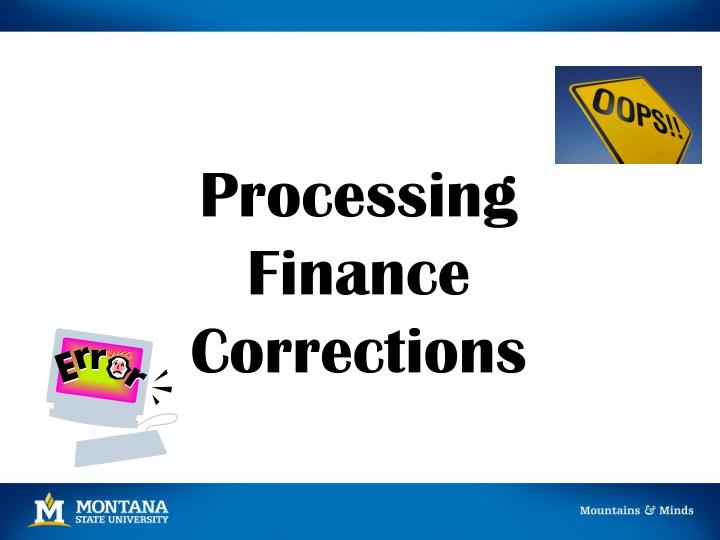 processing finance corrections n.