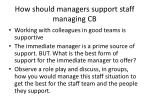how should managers support staff managing cb