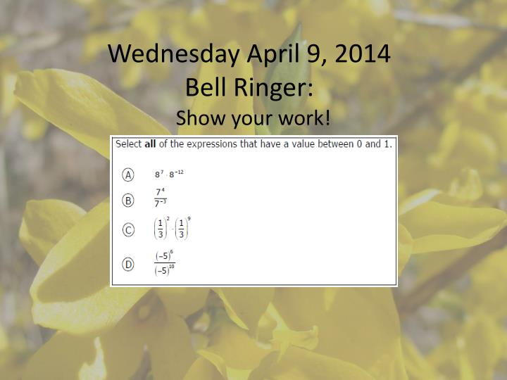 wednesday april 9 2014 bell ringer n.
