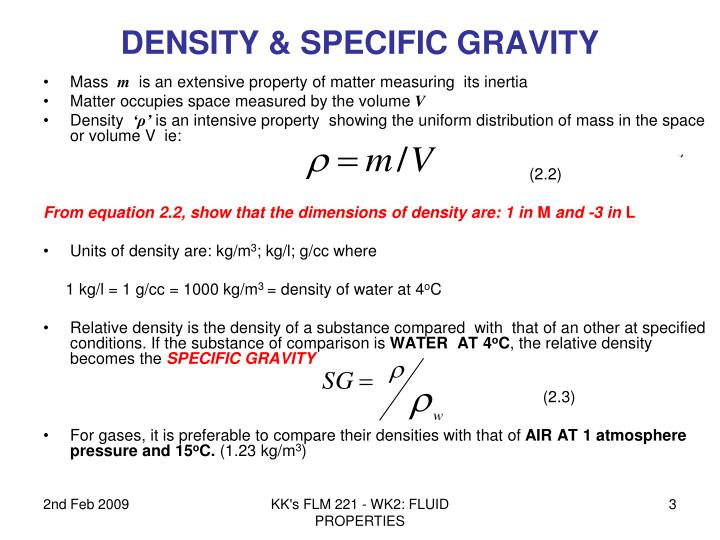 Density specific gravity