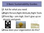 3 basic sustainability guides