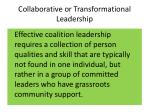 collaborative or transformational leadership