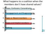 what happens to a coalition when the members don t have shared values