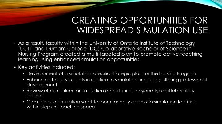 creating opportunities for widespread simulation use