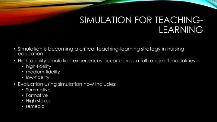 Simulation for teaching learning