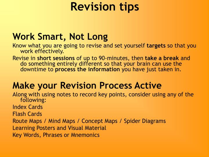 revision tips n.