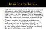 barriers to stroke care