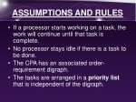 assumptions and rules