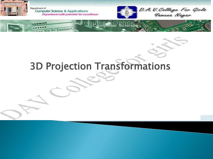3d projection transformations n.