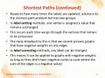 shortest paths continued