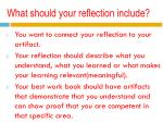what should your reflection include