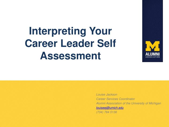 interpreting your career leader self assessment n.