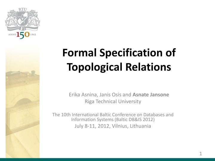 formal specification of topological relations n.
